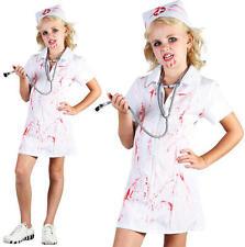 Childrens Kids Mad Nurse Fancy Dress Costume Girls Childs Halloween Outfit M