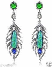 Wholesale 1pair Woman's Green Crystal Rhinestone Long Ear Stud Hoop earrings 095