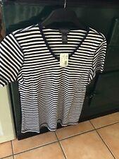 Van Heusen Ladies Navy/White Striped Top 100% Cotton Size M BNWT