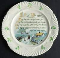 Belleek HARP SHAMROCK Irish Blessing Luncheon Plate 9034192