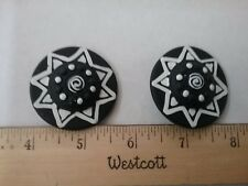 "Large and Unique Vintage black and white 1 3/4"" 70L shank Buttons Lot of 2"