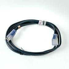 8' Black 12 Gauge Flat Extension Cord with Lighted End