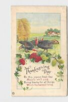 ANTIQUE POSTCARD THANKSGIVING TURKEYS IN FIELD GRAPES WHEAT POEM