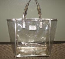MICHAEL KORS Clear Plastic Gold Metallic LARGE SNAKE PRINT Beach Tote Bag