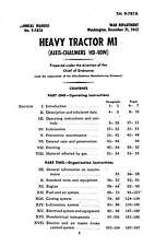 Allis Chalmers Crawler Dozer HD 10W, M1 TECHNICAL MANUAL 258 Pages PDF CD