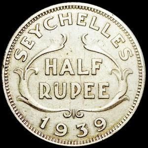 SEYCHELLES - GEORGE VI - RARE 1/2 RUPEE 1939 - SILVER COIN #SEY1