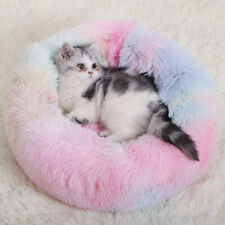 1xDonut Plush Pet Dog Cat Bed Fluffy Bed Calming Warm Soft Nest Kennel Sleeping