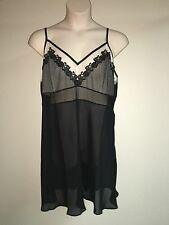 Cacique 1pc Chemise Embroidered Sheer Plus Size 14/16 Black Womens NWT