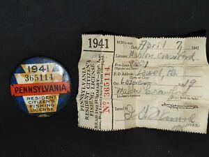 1941 PENNSYLVANIA RESIDENT FISHING LICENSE PINBACK BUTTON W/ PAPERS BLUE ORANGE