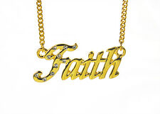 18K Gold Plated Necklace With Name FAITH - Designer Fashion Bridal Anniversary