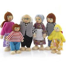 6x Legno Stoffa Persone Famiglia Delle Bambole di Piegatura Casa Set
