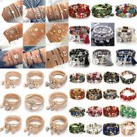 4PCS/Set BOHO Tasels Shell Conch Beaded Crystal Bangle Women Bracelet Chain Cuff