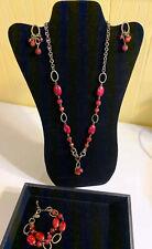 PREMIER DESIGNS Necklace/Bracelet/Earring Set Antique Bronze-tone/Red