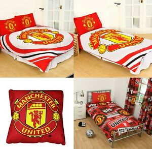 MANCHESTER UNITED DUVET COVER SET - CUSHION MAN UNITED BEDDING GIFT PULSE PATCH