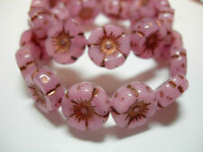 12 beads - Pink Opal with Copper Czech Glass Flower Beads 12mm