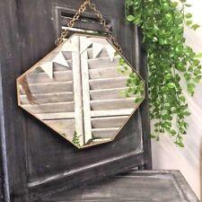 Large Octagonal Mirror Vintage Brass Metal Frame Wall Hanging Metal Chain Loop