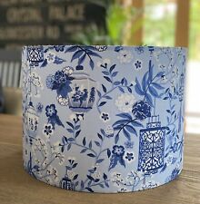 MADE TO ORDER LAMPSHADE JAPANESE LANTERNS, CHERRY BLOSSOM, BLUE & WHITE
