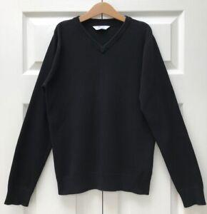 M&S Black School Jumper Age 12-13Y 158 cm V-neck Cotton Rich Boys Girls