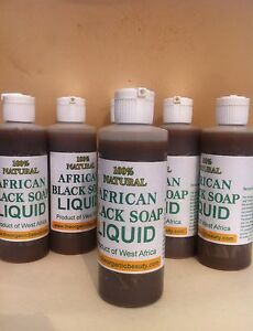 Liquid Raw African Black Soap Pure 100% Organic 4 oz, Free Shipping!