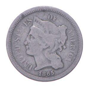 ***3***THREE***Cent*** 1865 - 3 Cent Piece Copper Nickel - Neat *276