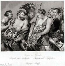 Satiri e Ninfe, di Rubens. Steel Engraving. Stampa Antica + Passepartout. 1850