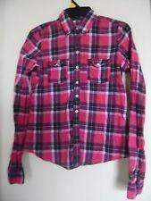 GILLY HICKS Women S Plaid Blouse Button Down  Top Shirt Rockabilly Pink Navy