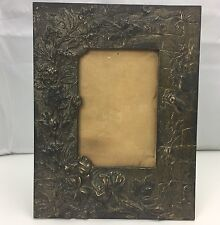 Antique Art Nouveau Bronze Picture Frame W/ Stone Wall Insect Floral Design