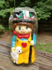 Vintage Hand Painted Shepherd Boy Candle 1981 Jasco Christmas Spirit 5-1/2""