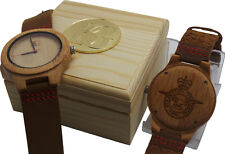 ROYAL AIR FORCE  Wooden Wrist Watch Real Luxury Leather Crested Army RAF