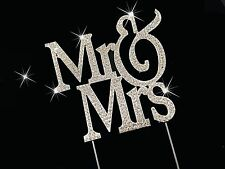 Bling MR & MRS Wedding Anniversary Diamante Rhinestone Gem Cake Topper Silver