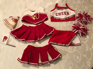 2 Build a Bear Red & White Cheerleader Outfits with Poms, Pennant, Megaphone