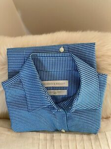 Rhodes & Beckett Womens shirt stunning blue houndstooth size 8 exc. condition