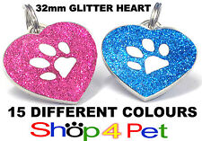 Dog ID Tag, 32mm REFLECTIVE GLITTER HEART PET TAGS, With or Without ENGRAVING