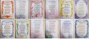 Graveside Bereavement Memorial Cards Keepsake Mum Dad Son Daughter Birthday Xmas