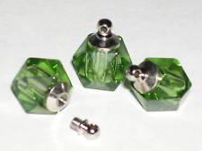1 Tiny miniature small Perfume vial pendant mini rice bottle Screw cap top Green
