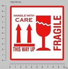 25 LARGE FRAGILE STICKERS THIS WAY UP LABELS HANDLE WITH CARE STICKERS 10X10CM
