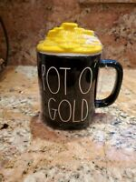 "Rae Dunn  ""POT O' GOLD"" Ceramic Coffee Mug With Gold  Coins Hat Topper"