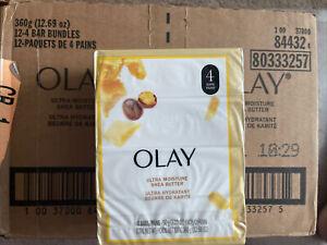 12-4 Pack OLAY Shea Butter Ultra Moisture Beauty Bar Soap 3.17 oz 48 Total Bars