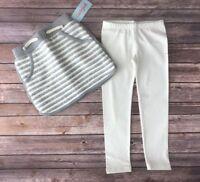 2pc Girl Circo leggings Almond Cream off white Cat & Jack stripe skirt Size 6/6X