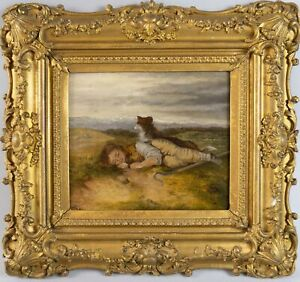 19th Century Oil On Canvas Resting Shepherd & Dog In Landscape, Signed & Dated.