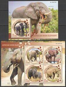 ST439 2016 SIERRA LEONE ANIMALS FAUNA AFRICAN BUSH ELEPHANT 1KB+1BL MNH STAMPS