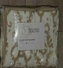 "Ballard Designs Quilted Liliana Ikat Tan Cream Euro Pillow Sham 26"" Square $59"