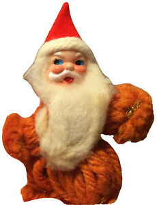 Santa Claus Christmas Tree Decoration Present Topper Vintage 1930's  Used 3.5 in