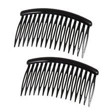 "Women 16 Teeth Black Plastic Comb Hair Pin Clip 3.1"" Long 2 Pcs E8B2"