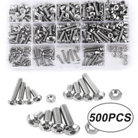 500pcs Set Fully Threaded Hex Screw Bolts and Nuts M3 M4 M5 Fixing Kit with Box