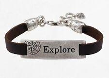 """Unique Brown Leather Men Bracelet Silver 925 Plated """"Explore"""" Etched"""