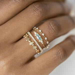 Gorgeous Cubic Zirconia Jewelry Ring Women 18K Gold Engagement Rings Size 6-10