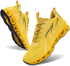 Men Athletic Shoes Mesh Blade Running Walking Sneaker Jogger Runner Yellow S 9