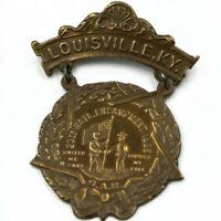 Antique Civil War GAR Brass 2-Piece State Encampment Medal Louisville KY 1895