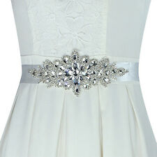 EG_ Hot Magic Bridal Sash Waist Belt with White Satin Ribbon for Wedding Dress